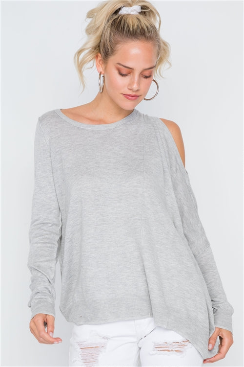 Heather Grey Asymmetrical Hem Seamed Sweater