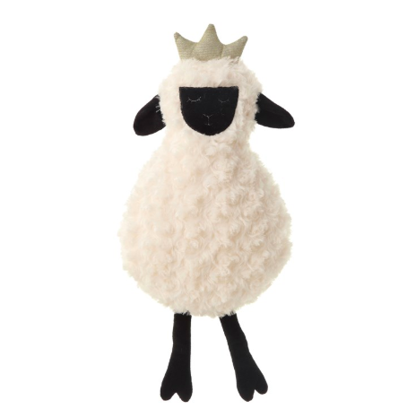 Plush Lamb with Crown, White