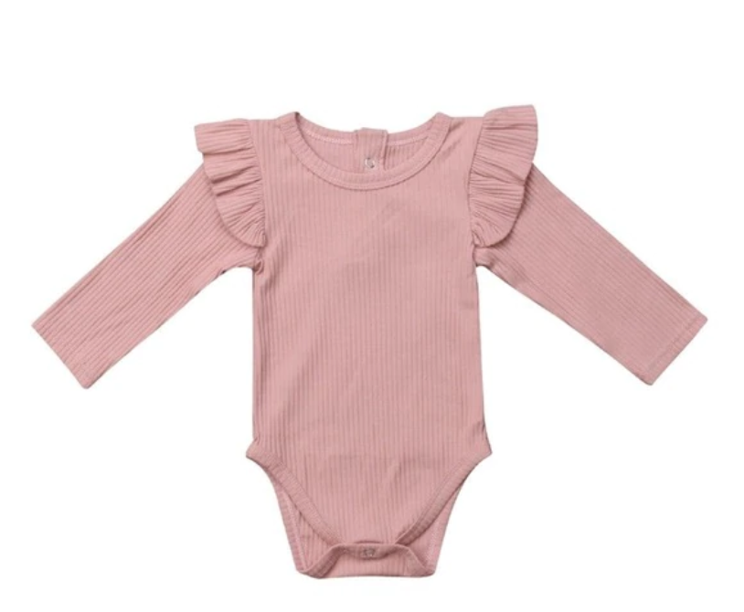 Pink Long - Sleeved Body Suit
