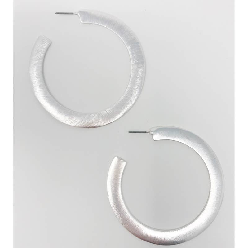 Brushed Silver Flattened Hoop
