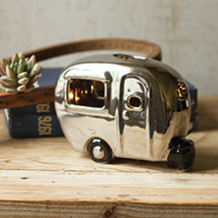 Silver Ceramic Camper Lamp by Kalalou