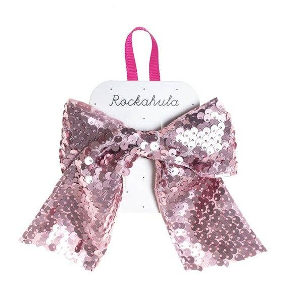 Super Sequins Bow Clip Pink by Rockahula Kids