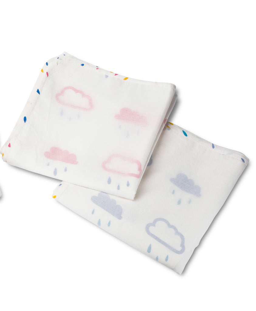 Clouds and Blue Raindrops Baby Blanket