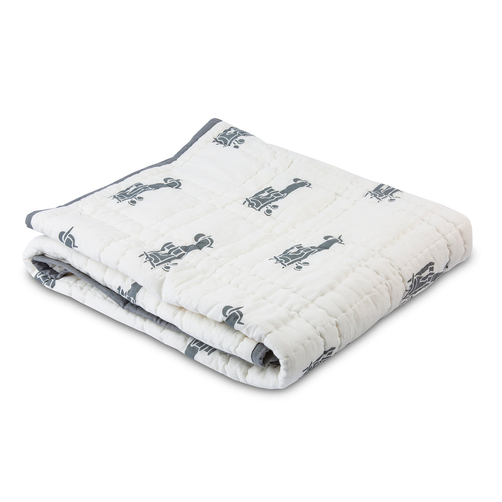 Gray Airplanes Baby Quilt