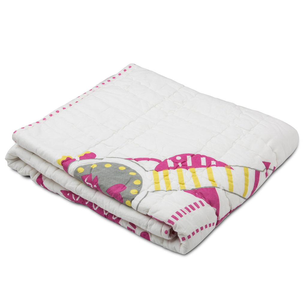 Coco Cockatoo with Feathers Reversible Tej Quilt, White