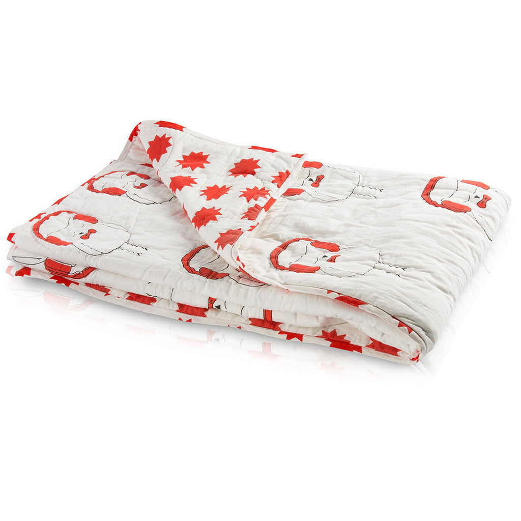 Red Rebby Owl Reversible Baby Quilt