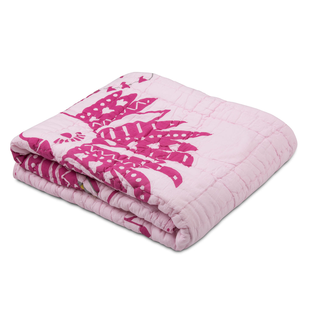 Pink Coco Cockatoo & Feathers Reversible Baby Quilt