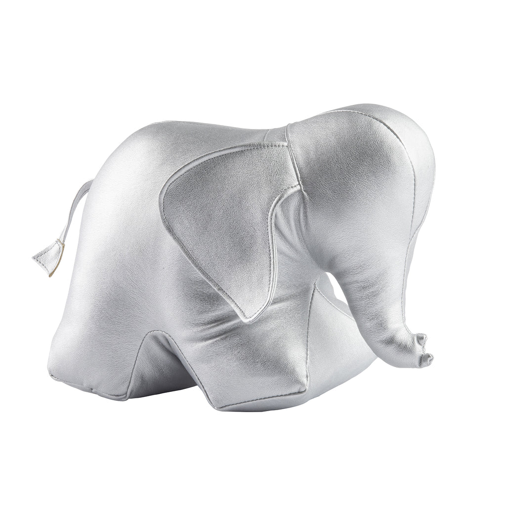 Silver Elephant Bookend/Doorstop in Faux Leather