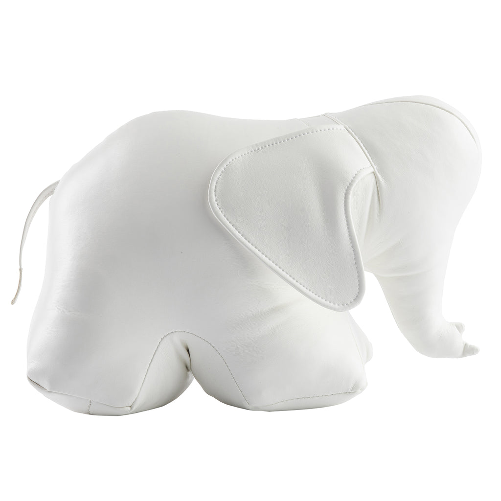 Elephant Bookend/Doorstop in White Faux Leather