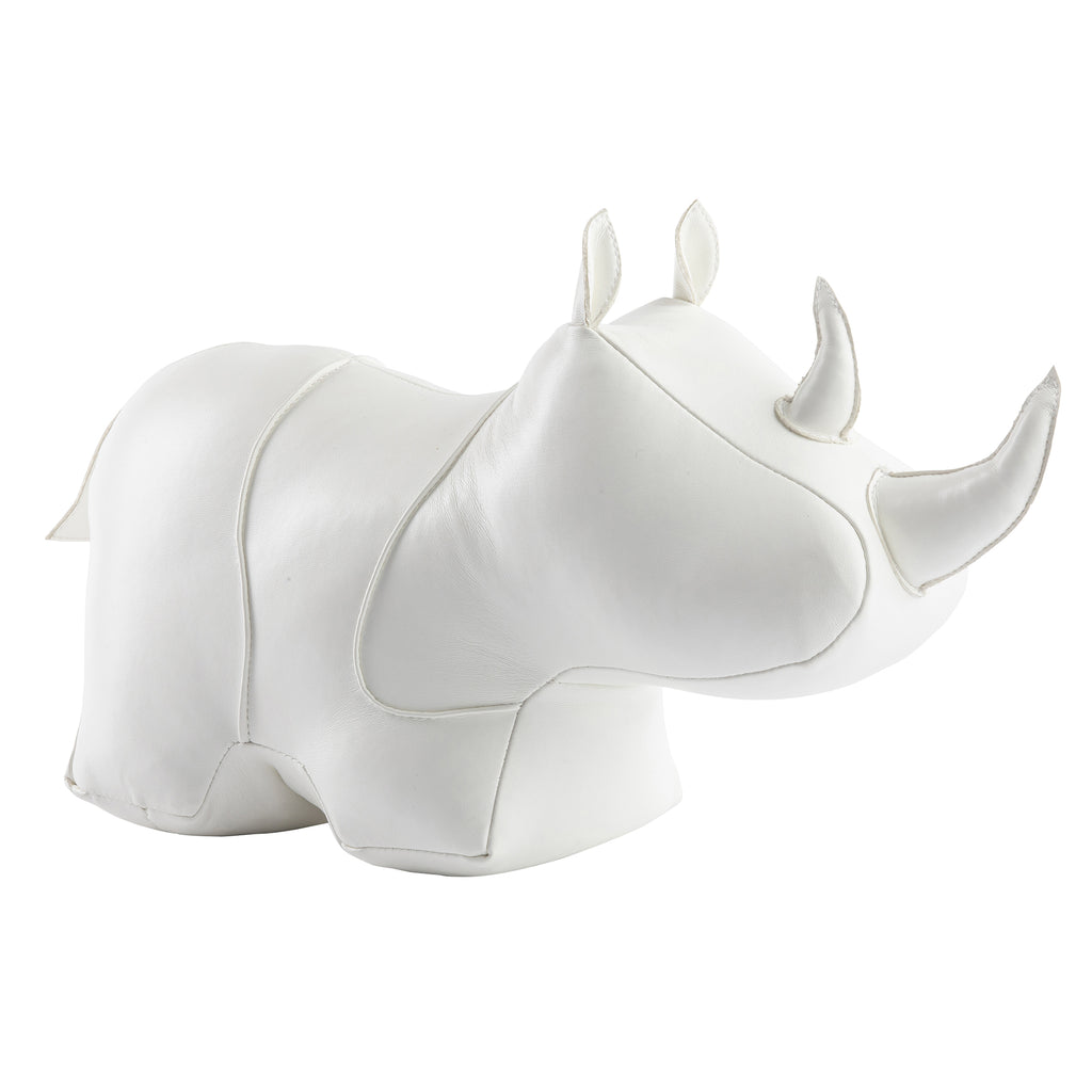 White Rhino Bookend/Doorstop in Faux Leather