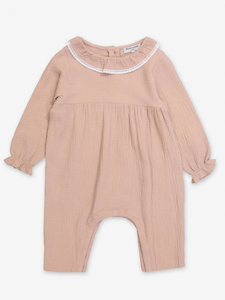 Dusty Pink Baby Jumpsuit by Petite Lucette