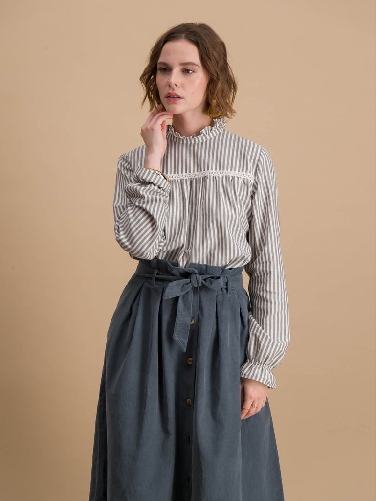 Slate Blue Skirt in Corduroy