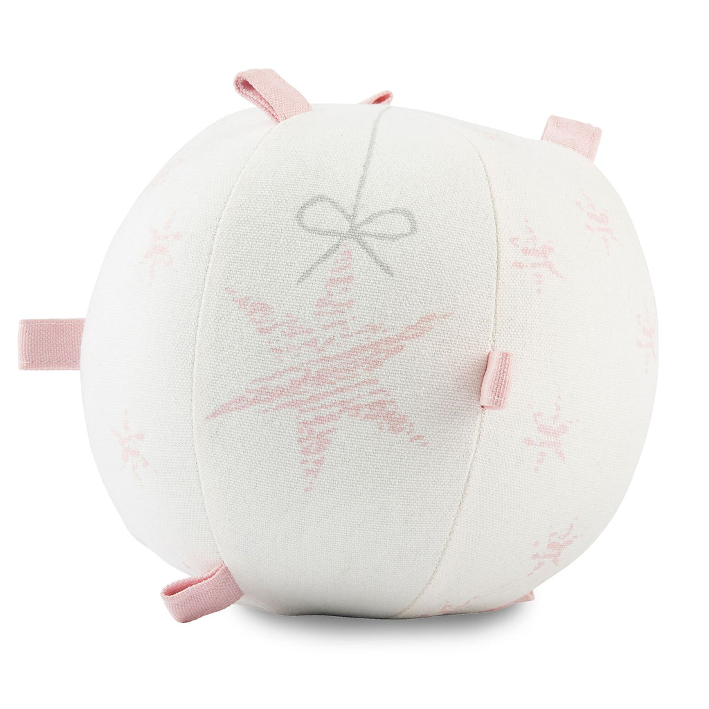 Light Pink Stars & Bow Sensory  Rattle Ball