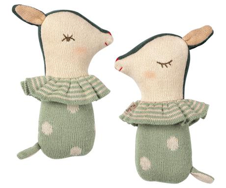Winky Bambi Baby Rattle - Dusty Mint