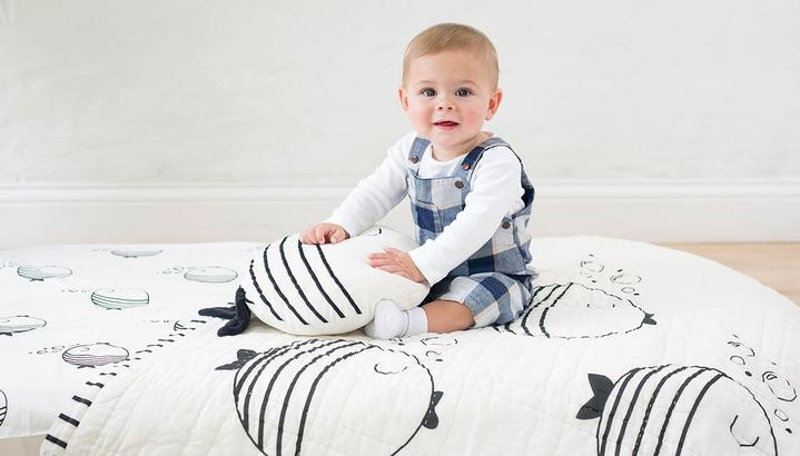 Black & White Fish Reversible Baby Quilt