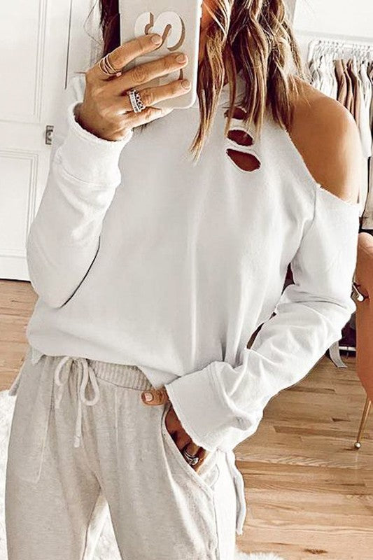 PRE-ORDER WHITE Distressed One Shoulder Sweatshirt