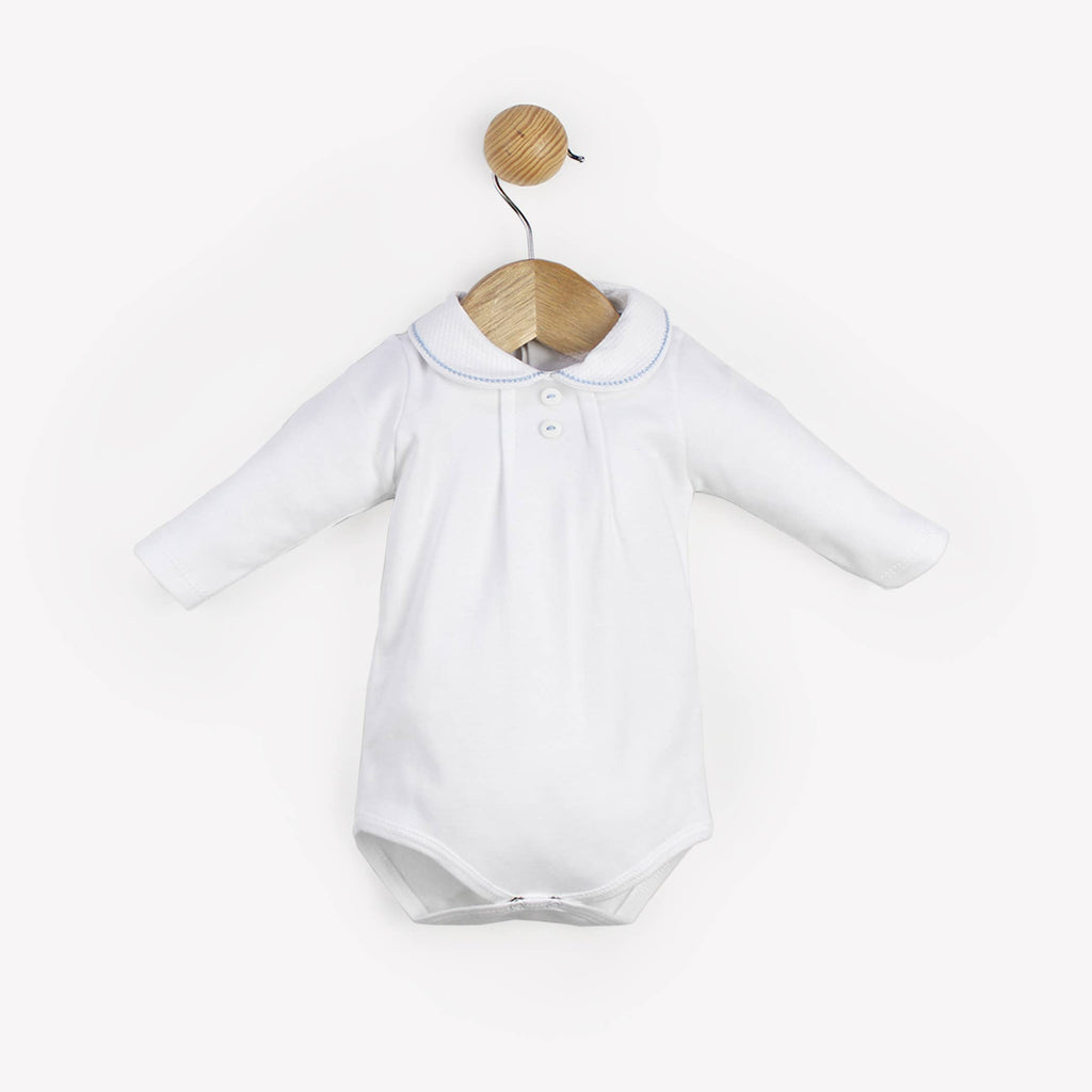 White Collar with Embroidered Blue Trim Onesie