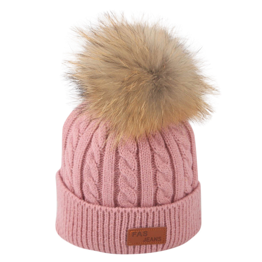 Pink Knit Hat With Pom-Pom by SCOUTED.