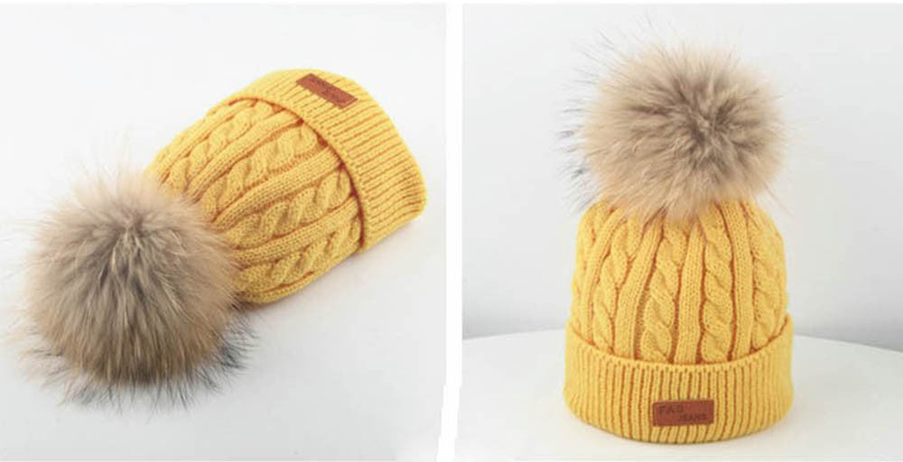 Yellow Knit Hat With Pom-Pom by SCOUTED.