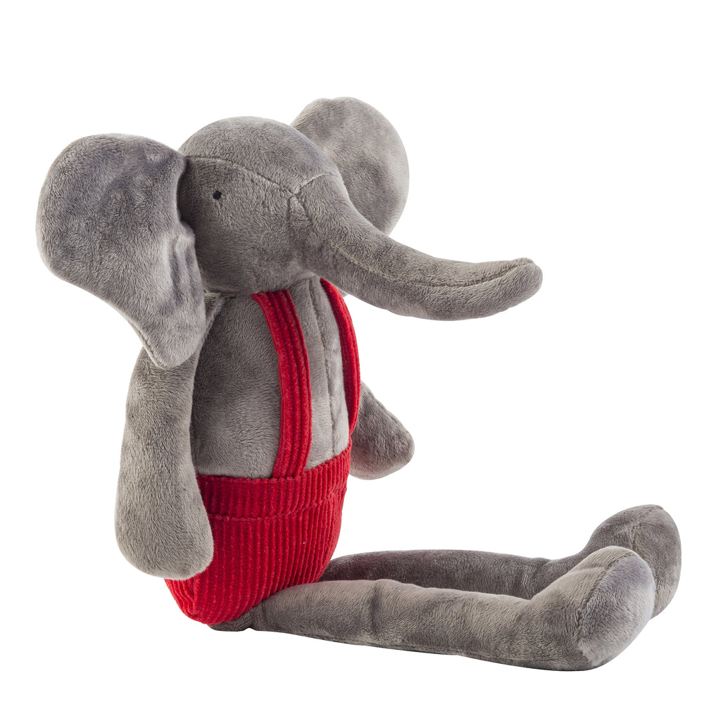 Huggie Plush Elephant Doll, red corduroy