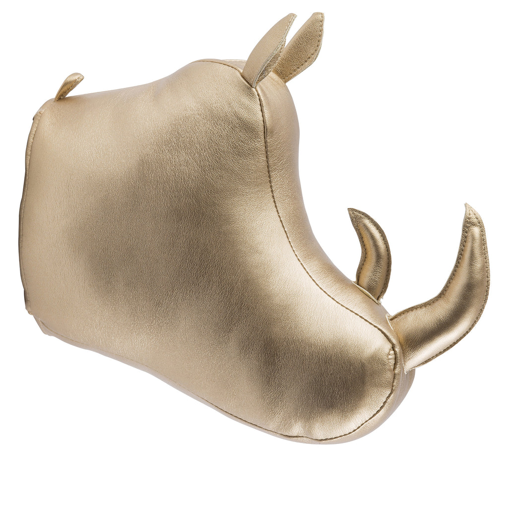 Gold Rhino Head Wall Mount