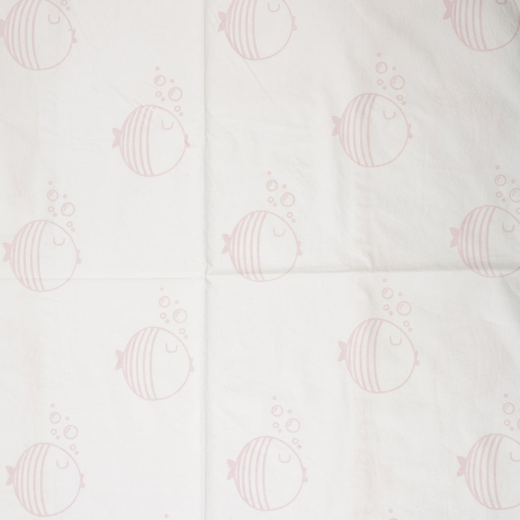 Light Pink Fish & Bubbles Crib Sheet