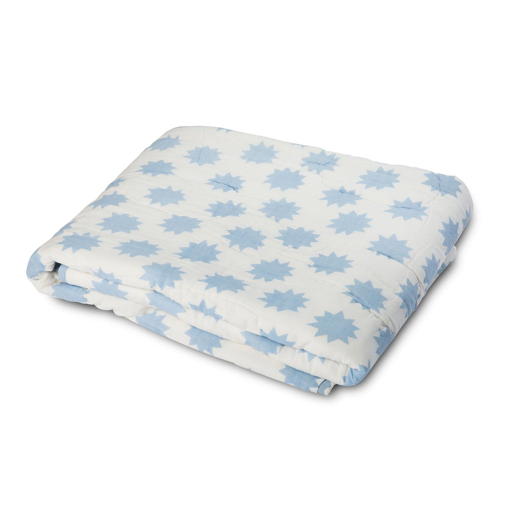 Lil' Pyar Ollie Owl, Blue Reversible Baby Quilt