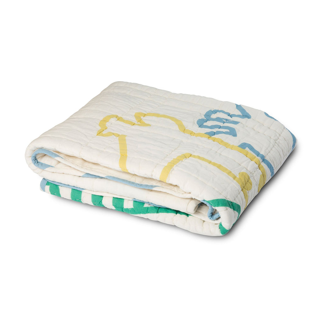 Muted Yellow Giraffe Family Reversible Baby Quilt