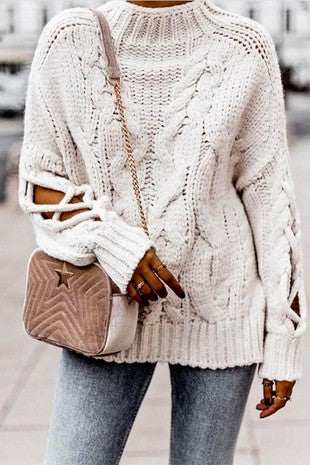 Open Cable White Sweater