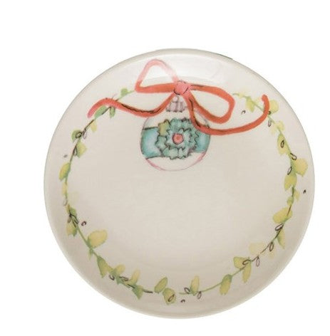 Turquoise Ribbon Ornament & Wreath Stoneware Plate
