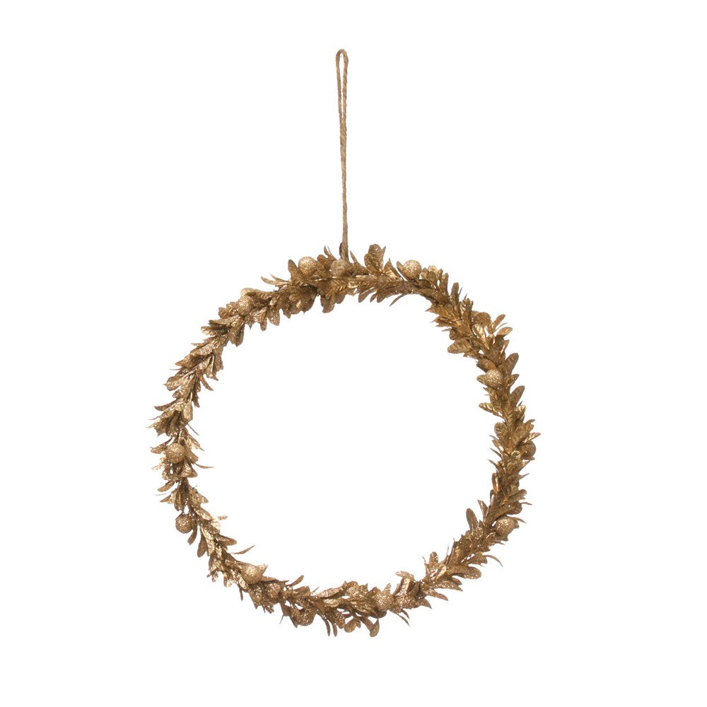Gold Faux Wreath, 11 inch