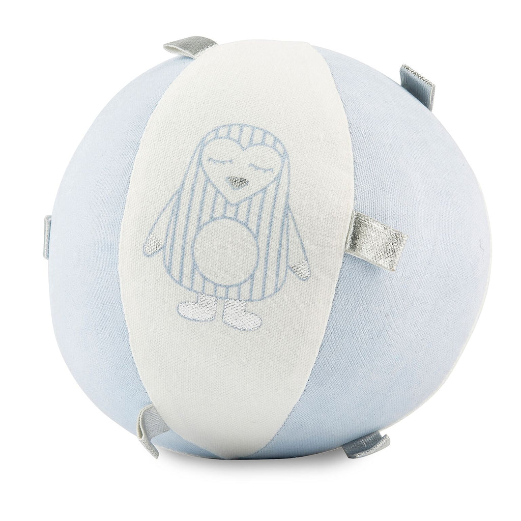 Light Blue Penguin Sensory  Rattle Ball