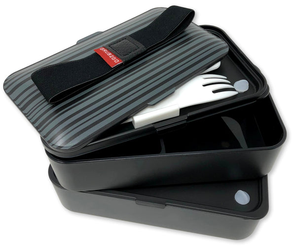 THE ORIGINAL Japanese Bento Box (2019 Exclusive GRUB2GO Black & Gray Design) w/FREE 2 Dividers + Larger Utensils w/Holder