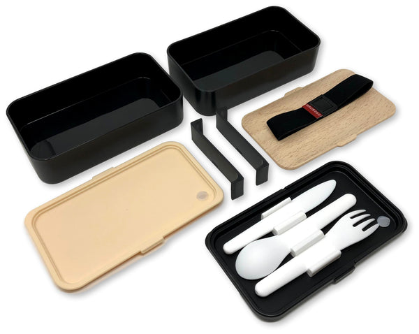 THE ORIGINAL Japanese Bento Box (Upgraded 2019 Black & Bamboo Design) w/FREE 2 Dividers + Larger Utensils w/Holder