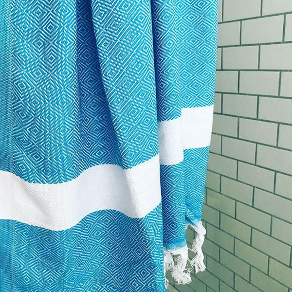 Beach Diamond Weave Turkish Towel - Turquoise/White