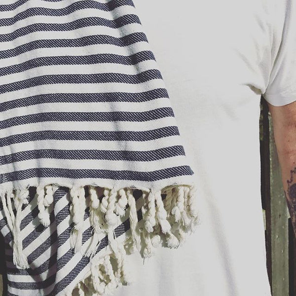Beach Striped XL Turkish Towel - Royal Blue, Black