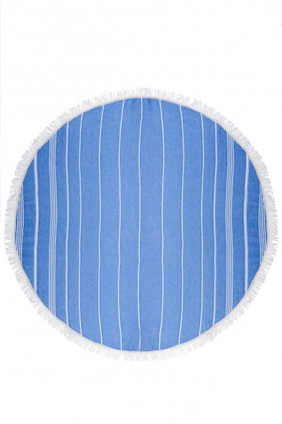 Basic Turkish Reversible Round Towel - Sailor Blue, Navy Blue
