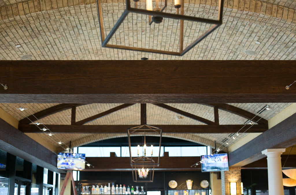 Commercial Space Transformation with Faux Wood Beams