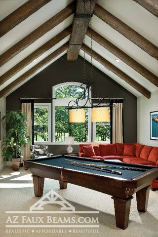 vaulted ceiling faux wood beam