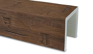 hand hewn faux wood beam