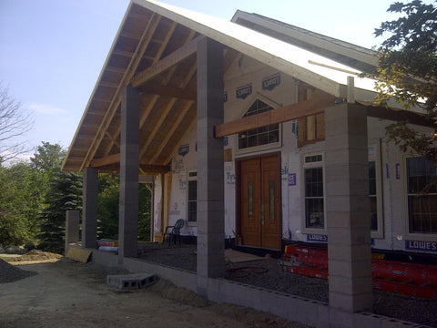 Faux Wood Beams In Cathedral Ceiling: Sandblasted faux wood beams were installed