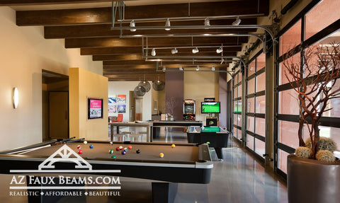Faux Wood Beams in Commercial Design - Office Game Room