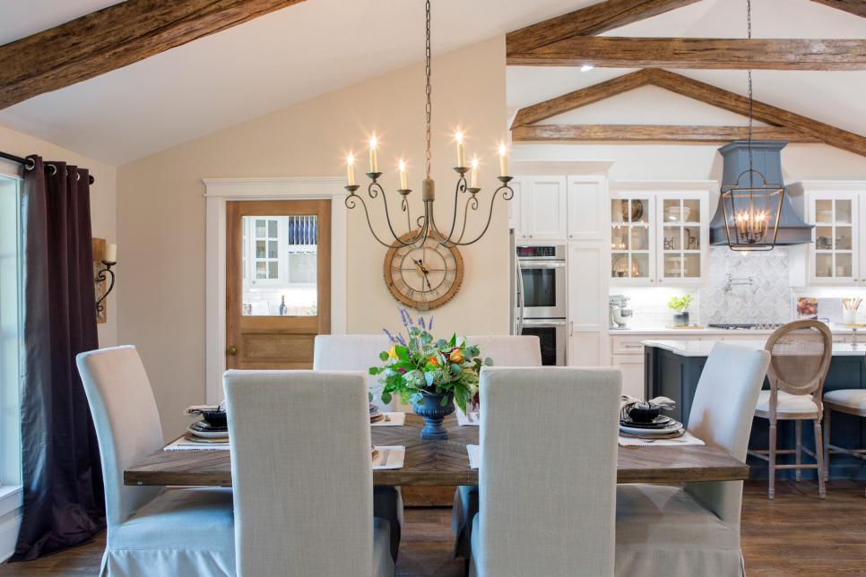 Faux Beams Dining Room Fixer Upper