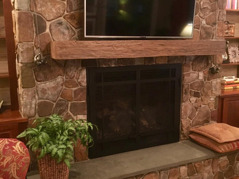 faux wood mantel fireplace