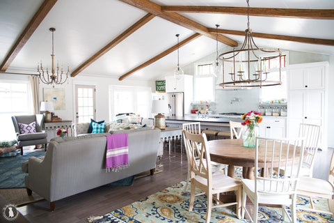 faux wood beam vaulted ceiling kitchen