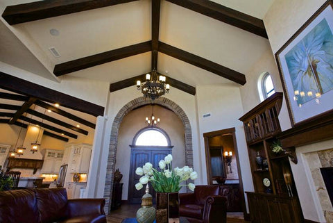 wood beam vaulted ceiling
