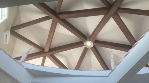 Living Room Ceiling Beams - Complex Geometric Patterns