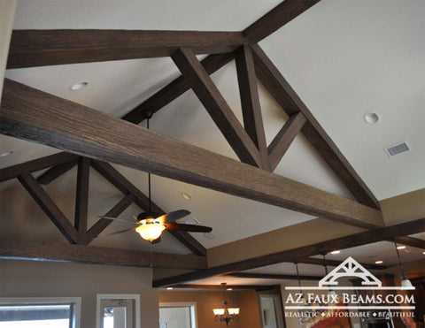 vaulted ceiling truss faux wood