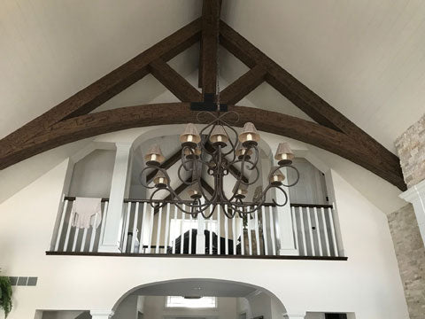 living room faux truss