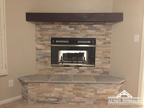 fireplace faux wood mantel